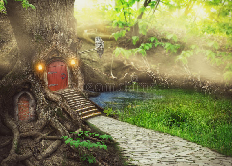 Fairy tree house in fantasy forest stock illustration