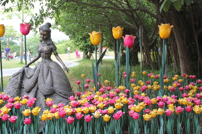 The fairy and tulips sculpture in the SIHAI park SHENZHEN CHINA ASIA stock photos