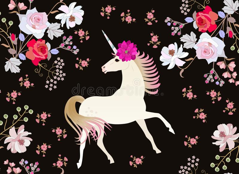 Fairy unicorn in magical forest. Rose, cosmos and bell flowers isolated on black background. Greeting or invitation card. Fairy unicorn in magical forest. Rose stock illustration