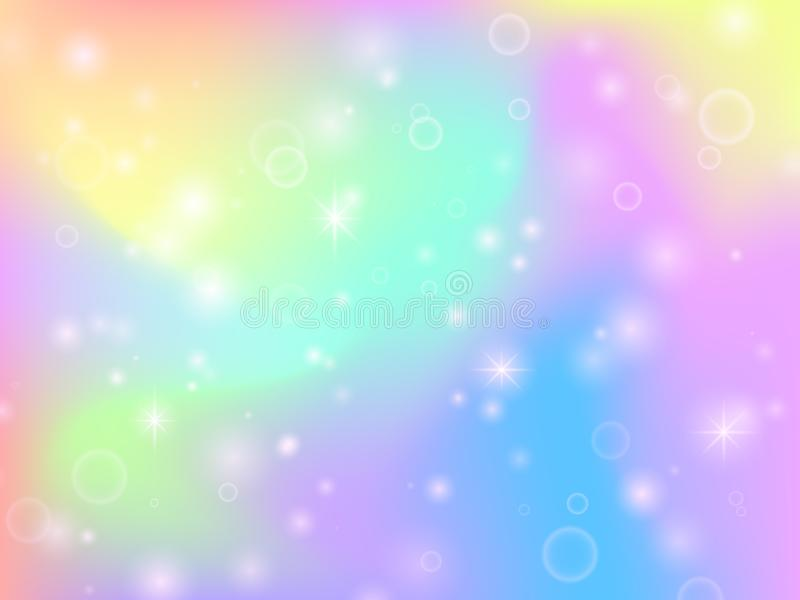 Fairy unicorn rainbow background with magic sparkles and stars. Multicolor fantasy abstract vector backdrop stock illustration