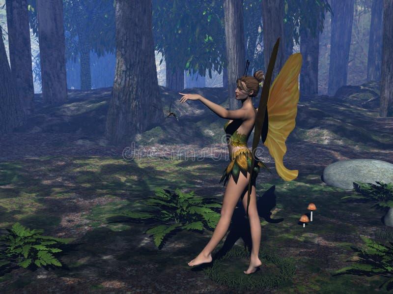 Fairy in uno schiarimento della foresta royalty illustrazione gratis