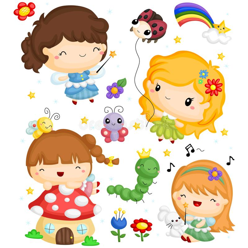 Fairy Vector Set. A fairy vector set with many items royalty free illustration