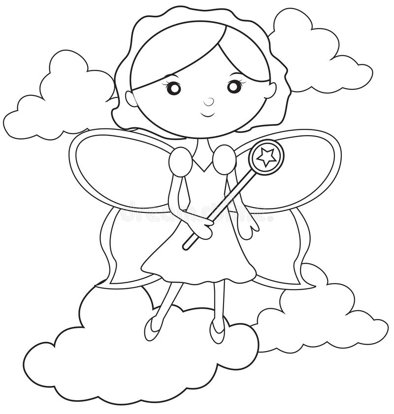 Fairy with a wand coloring page. Useful as coloring book for kids stock illustration