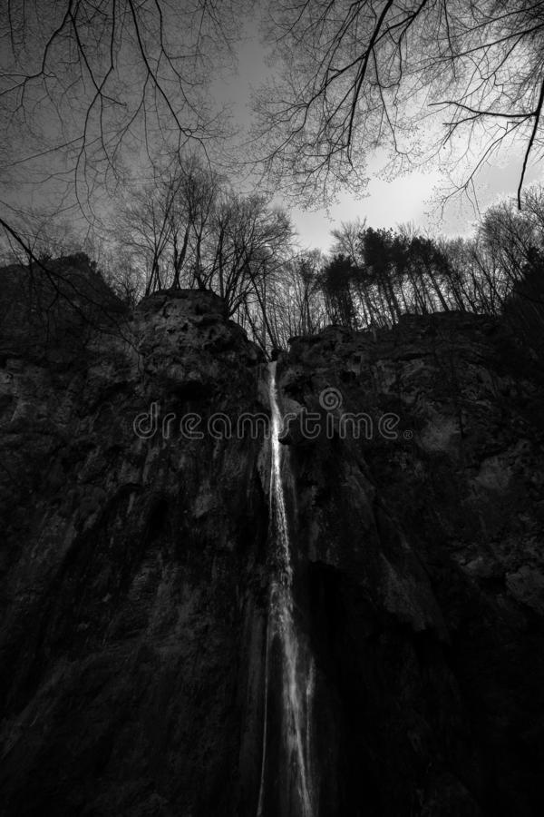 The fairy waterfall of shadows and lights. stock image