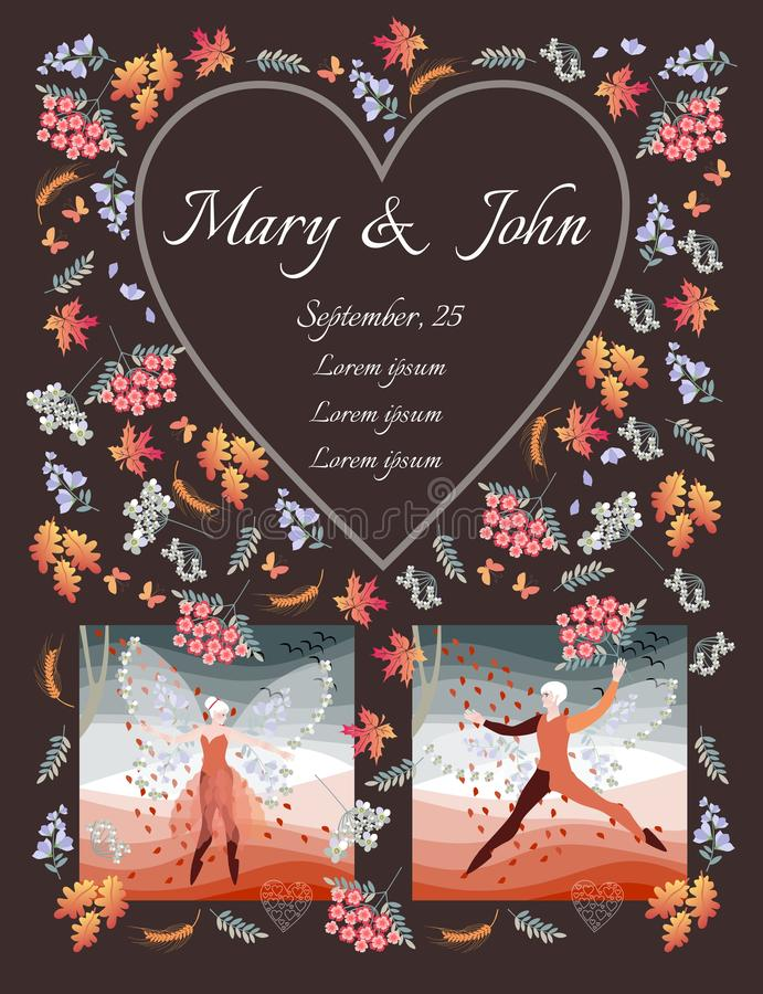 Fairy wedding invitation. Beautiful winged elven man and woman dance under the rain out of flowers and leaves. Cute card with place for text in heart shaped royalty free illustration