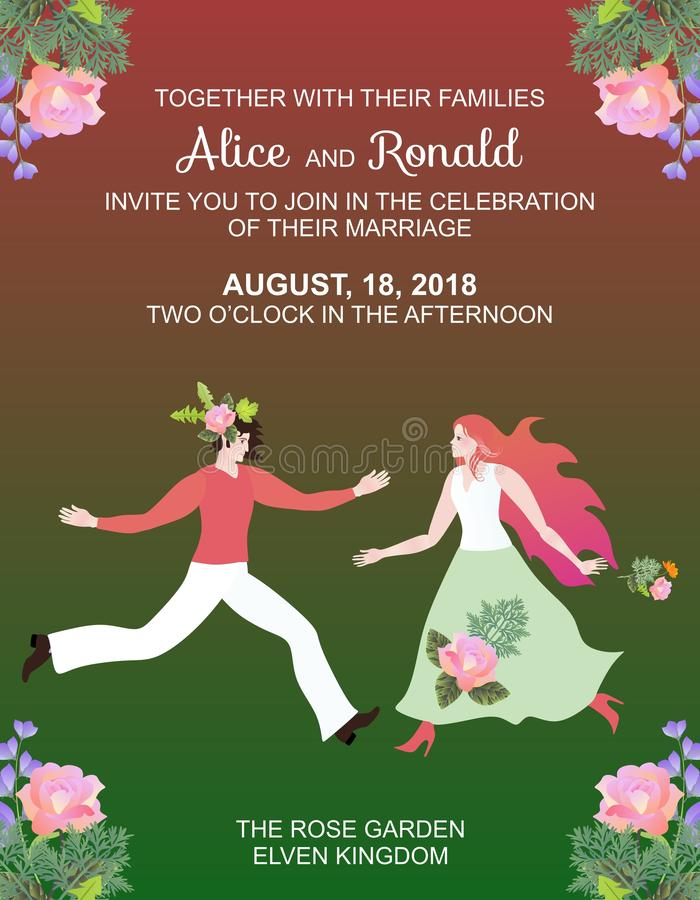 Fairy wedding invitation card template with beautiful man and woman in rose garden.  vector illustration