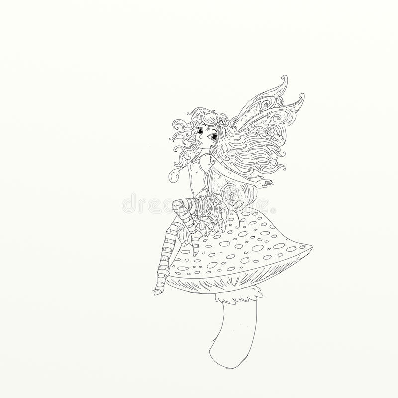 Fairy with wings sitting upward a fungus chine coloring humorous children. For books and teaching school boards and narrative vector illustration
