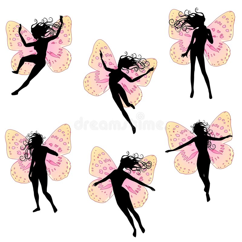 Fairy Wings Women Silhouettes. A clip art illustration featuring an assortment of fairies flying and fluttering about with pink wings and long flowing stock illustration