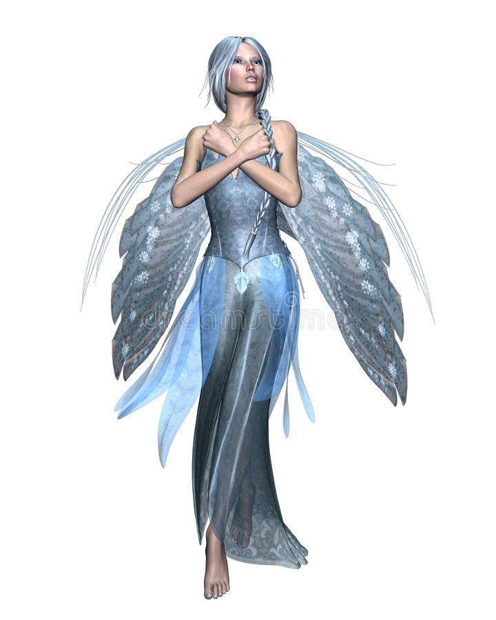 Fairy Winter Spirit 1. Fairy spirit in an icy blue dress with snowflake wings, 3d digitally rendered illustration vector illustration