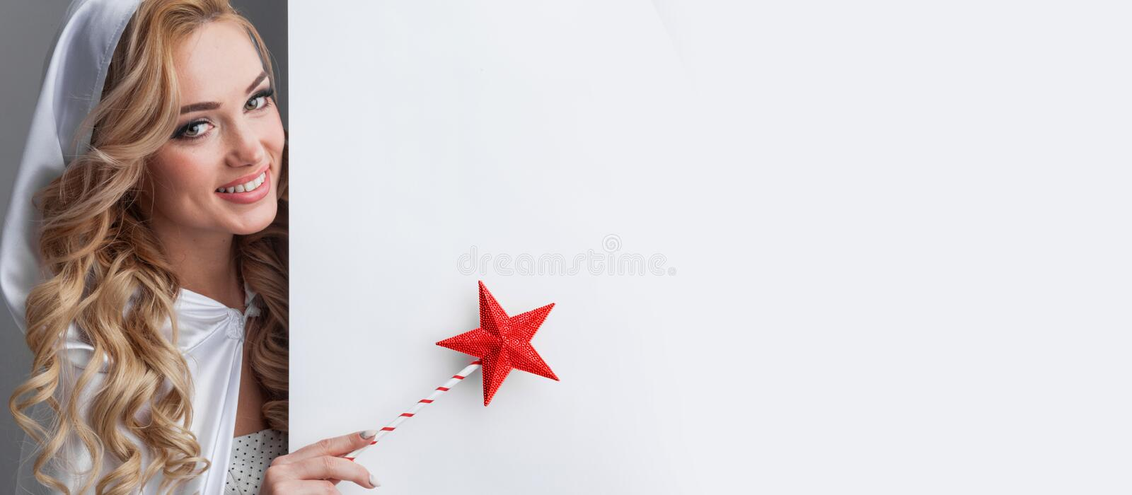 Fairy woman with magic wand royalty free stock image