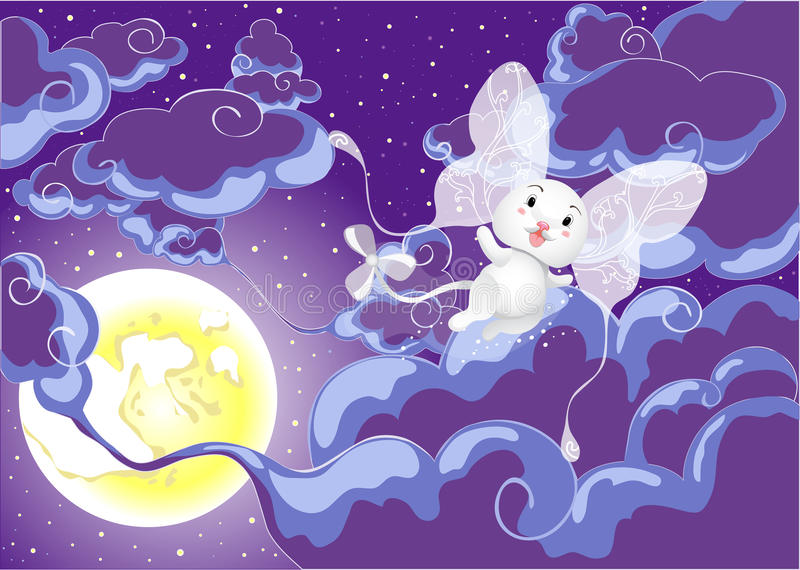 Fairy world. Night sky with clouds, moon and fairy being stock illustration