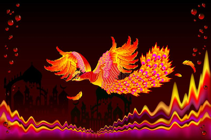Fairyland bird flying between flame waves in fairy tale kingdom. Fantastic illustration for kids book cover. royalty free illustration