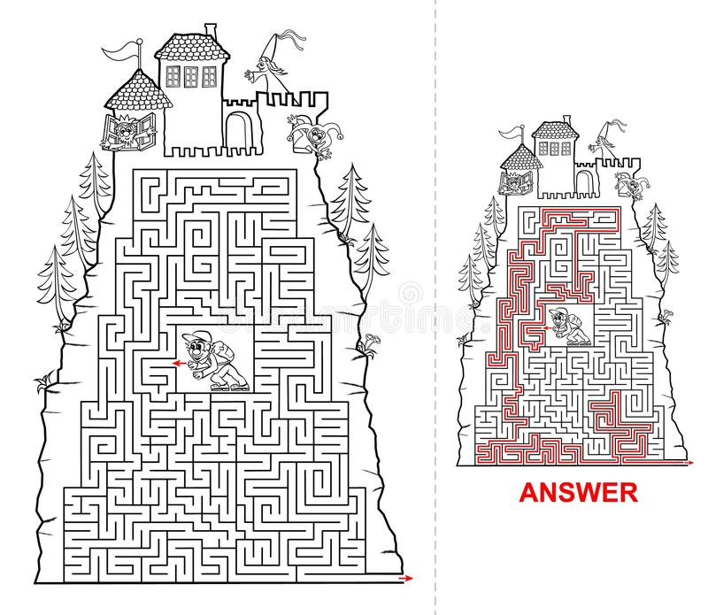 Fairytail孩子的城堡迷宫在黑白 向量例证