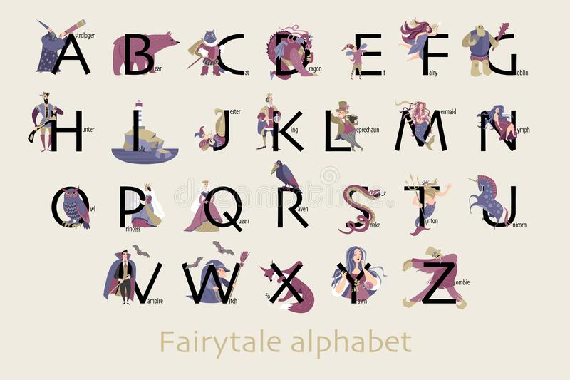 Fairytale alphabet. Funny characters and animals, monsters and heroes of folklore are isolated on a neutral background. Set of fairytale characters in cartoon royalty free illustration