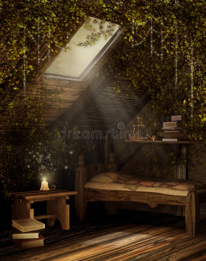Fairytale attic room. Fairytale attic bedroom with green vines royalty free illustration