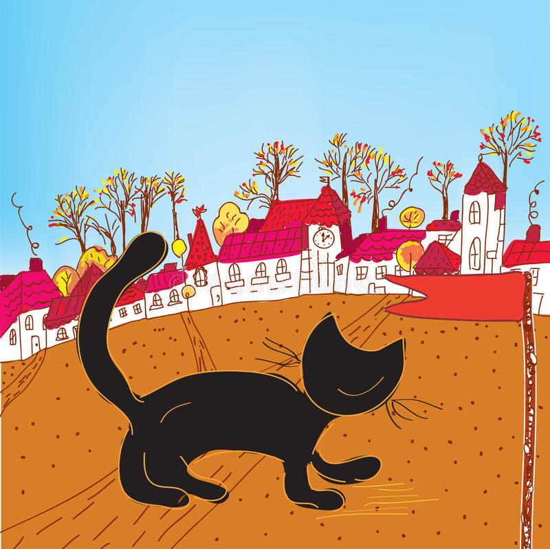 Download Fairytale Autumn Town And Cat Stock Vector - Image: 22893559