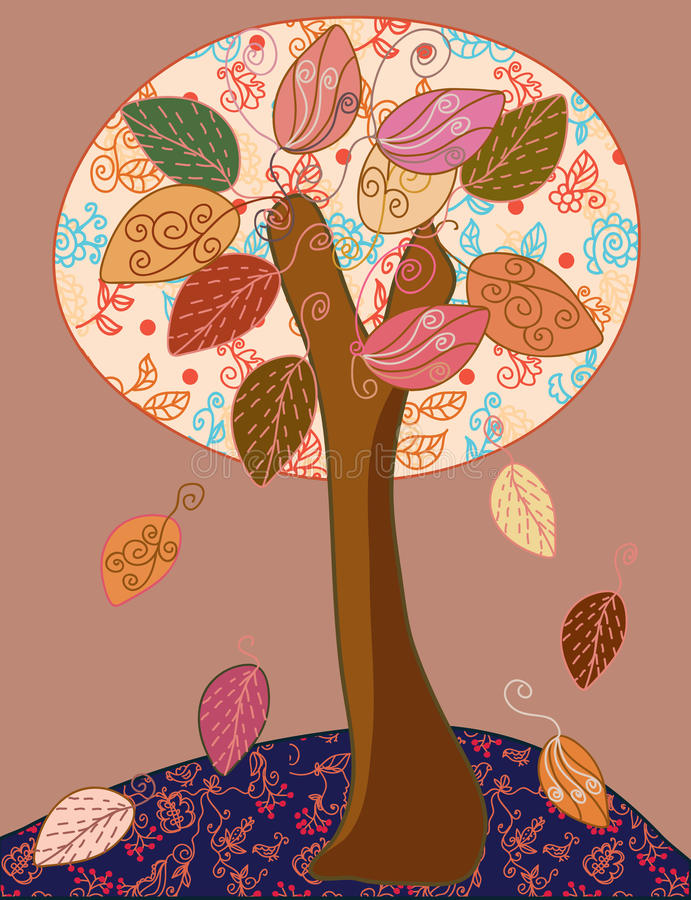 Download Fairytale autumn tree stock vector. Image of bright, cute - 15614165