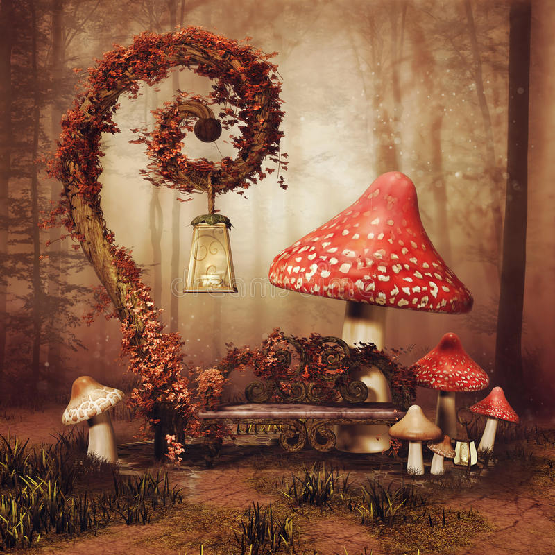 Fairytale bench and mushrooms stock illustration