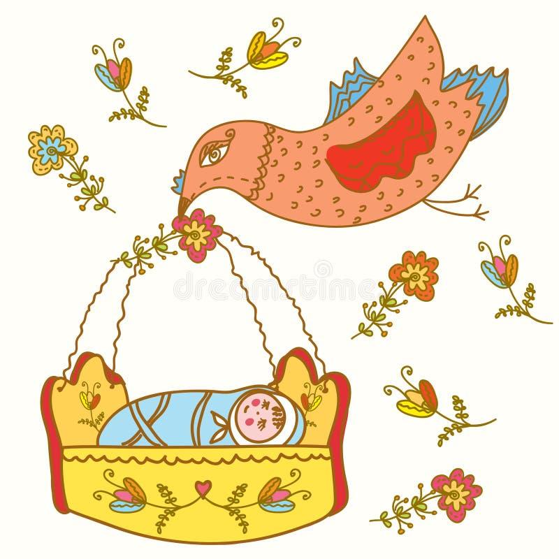 Fairytale bird brings baby vector illustration