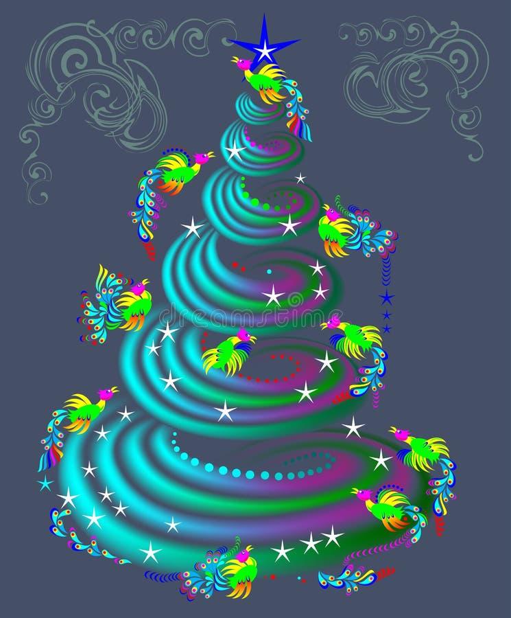 Fairytale Birds Flying Around Fantasy Christmas Tree. Stock Vector ...