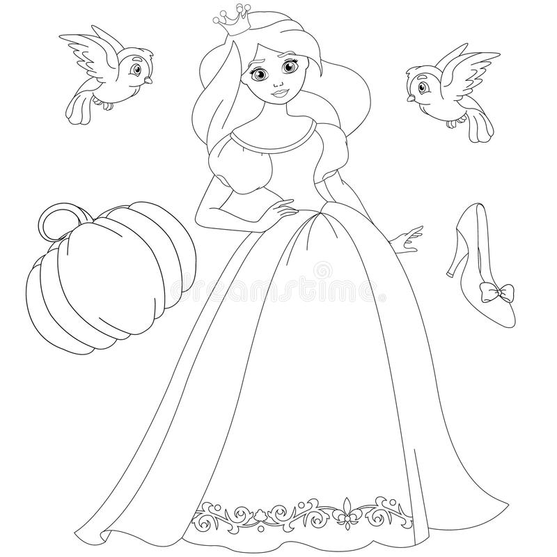 Fairytale blonde prinses Coloring Book Page royalty-vrije illustratie