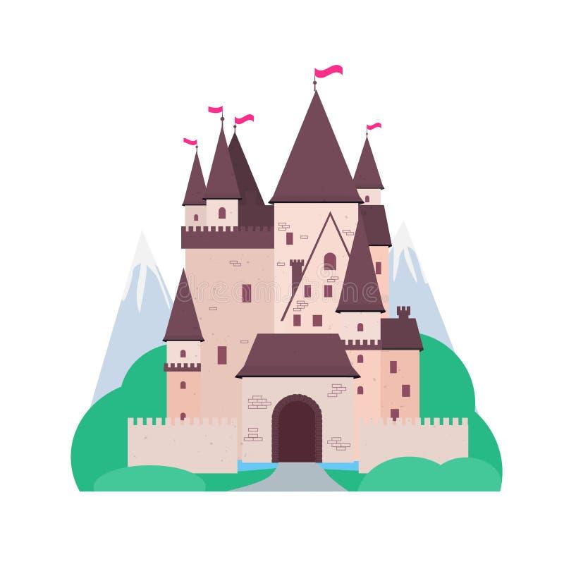 Fairytale Burg mit Landschaft im weißen Hintergrund Cut-out-Illustration mit Palast, Bergen, Bäumen und Wald Vector flach lizenzfreie abbildung
