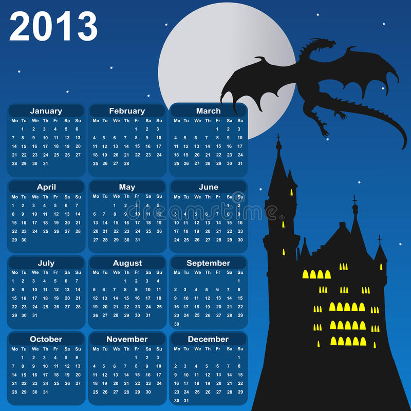 Fairytale calendar for 2013 stock images