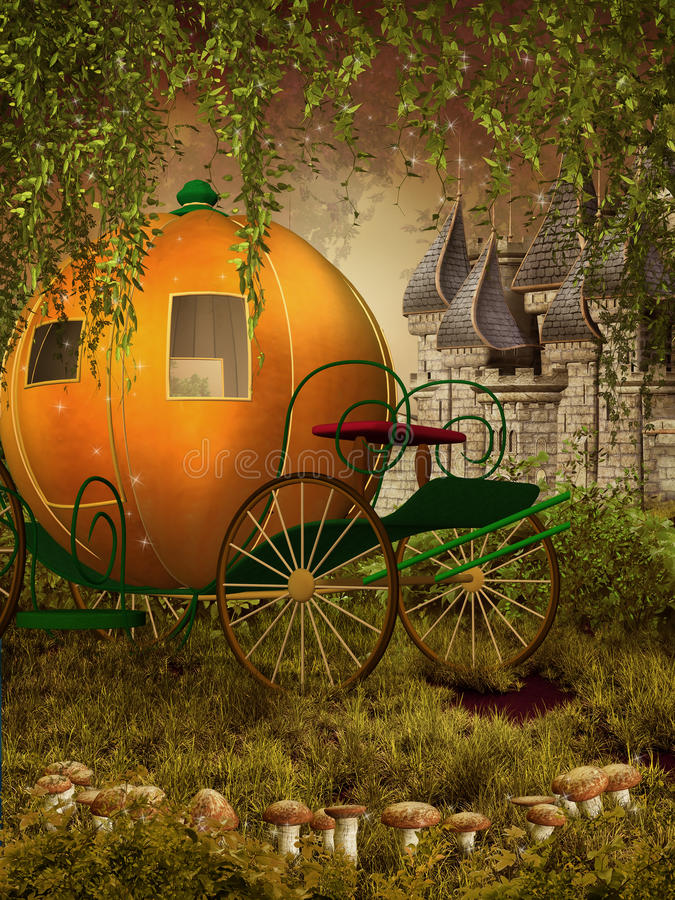 Fairytale carriage and castle royalty free illustration