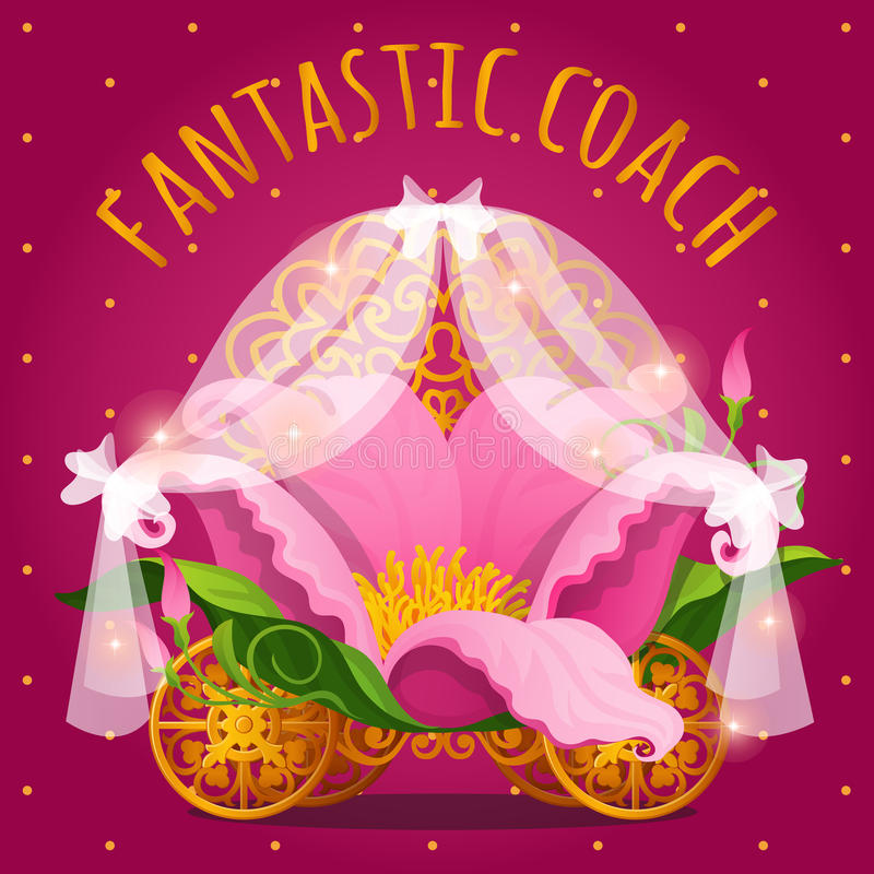 Fairytale carriage from Princess made of flower stock illustration