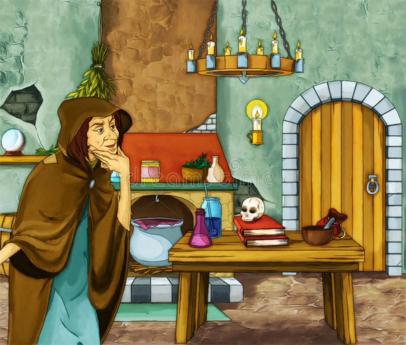 Fairytale cartoon character old witch in the room