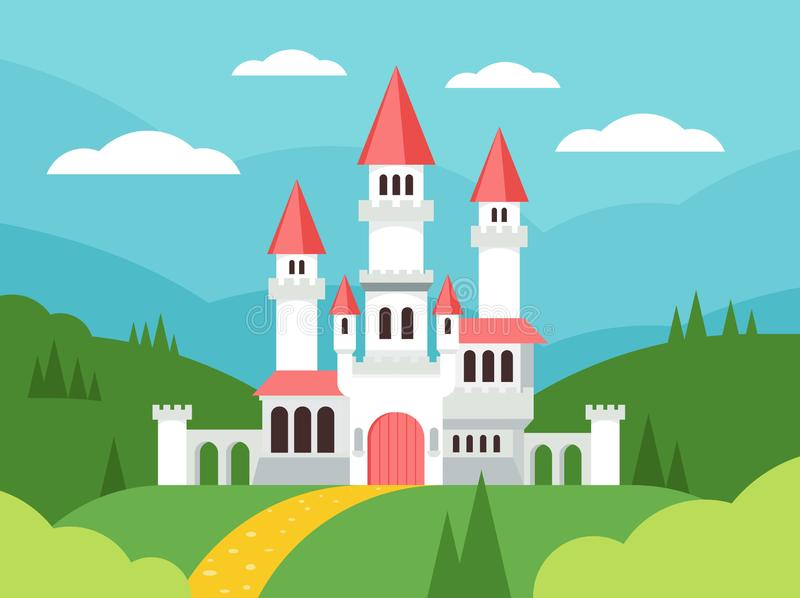 Fairytale cartoon flat landscape with castle. Cute fantasy palace with towers, fantasy fairy house. Old medieval stone stock illustration