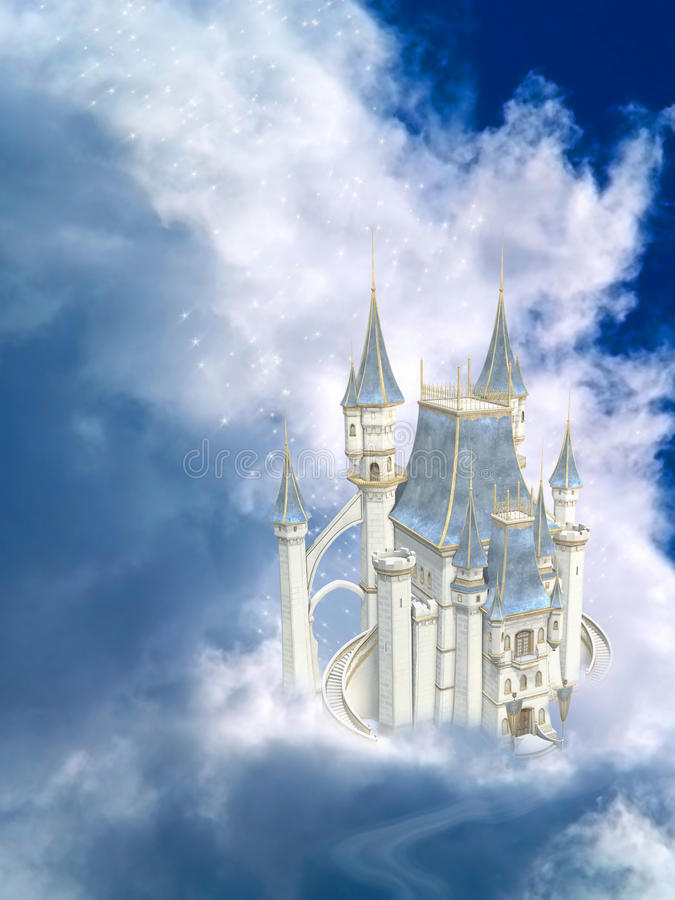 Fairytale Castle. A Dreamy Fairytale Castle In The Clouds royalty free illustration