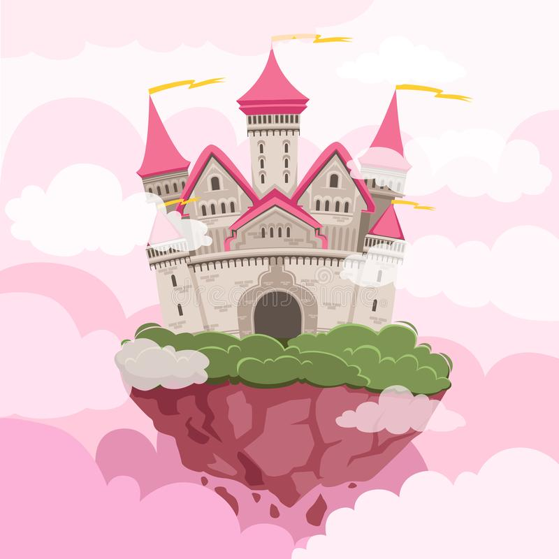 Fairytale castle with big towers in the sky. Fantasy landscape background royalty free illustration