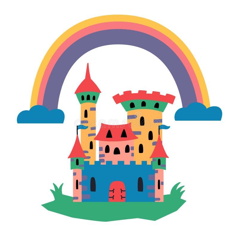 Fairytale castle. Fairy tales.Magic house. Fairytale castle. Fairy tales. Magic house. Rainbow. Medieval building. Editable Vector Illustration vector illustration