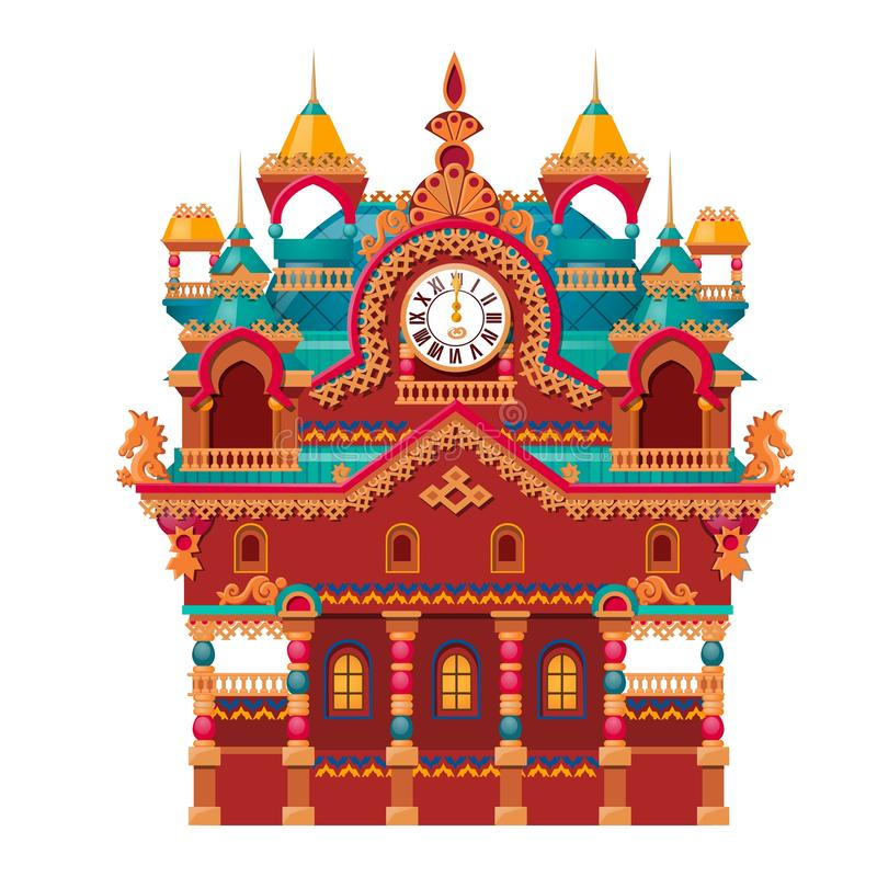 Fairytale castle festively decorated with watch isolated on white background. Vector cartoon close-up illustration. royalty free illustration