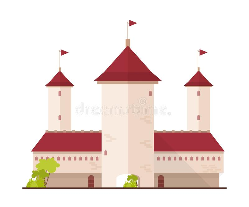 Fairytale castle, fortress or citadel with towers and gate isolated on white background. Facade of magic ancient royal stock illustration