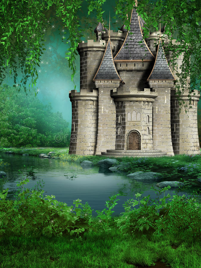 Fairytale Castle By The River Royalty Free Stock Photography