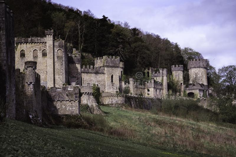 Beautiful Gwrych castle ruin landscape. royalty free stock photo