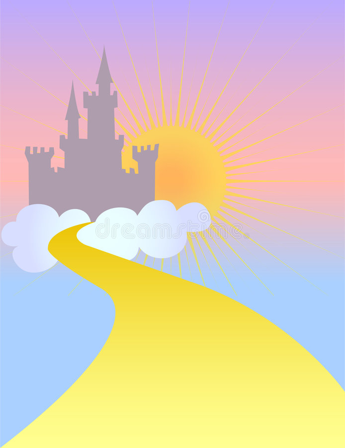 Fairytale Castle in the Sky/eps. Fairytale castle in silhouette against a pastel sky with a golden sun...could symbolize God's heavenly kingdom, a blissful stock illustration