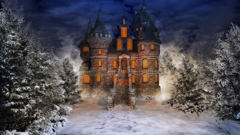 Fairytale castle in snowy forest royalty free illustration