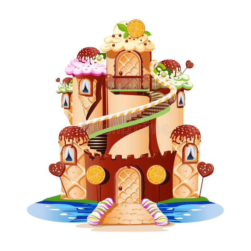 Fairytale castle with towers and a balcony made of sweets. A fairytale castle with towers and a balcony made of sweets. Cheerful and tasty vector illustration royalty free illustration