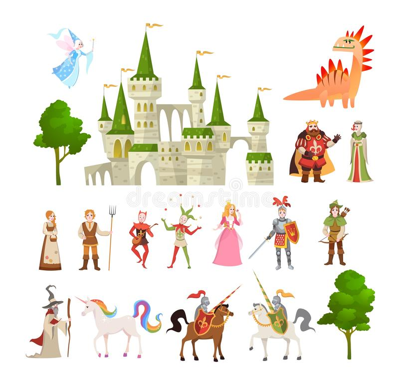 Fairytale characters. Fantasy medieval magic dragon, unicorn, princes and king, royal castle and knight vector set royalty free illustration