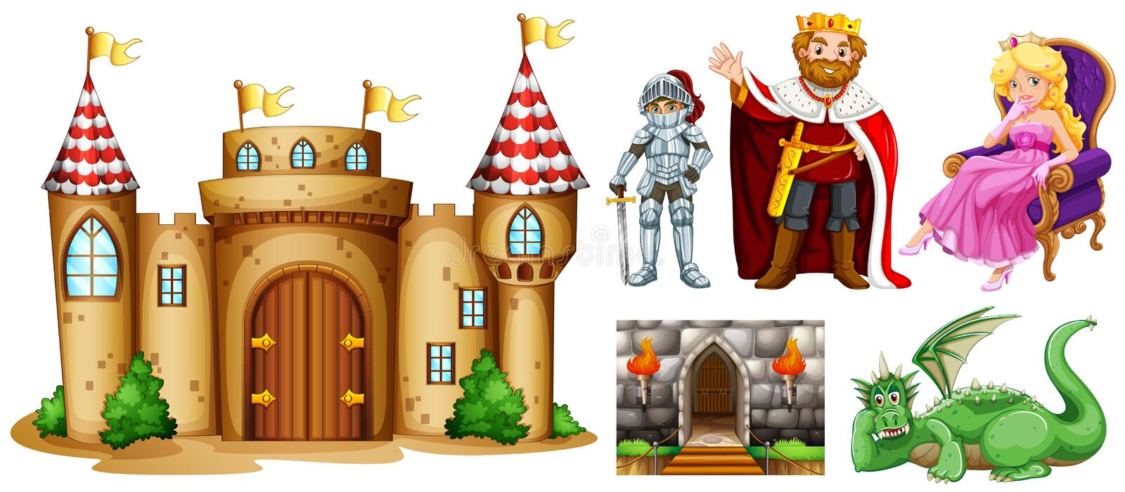 Fairytale characters and palace building royalty free illustration