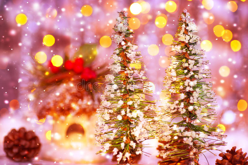 Fairytale Christmas Two Little Decorated Trees On Festive Lights Background Beautiful Still Life Cute Home Decoration