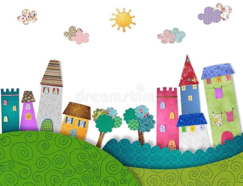 Fairytale City. Colorful graphic illustration. Quilt design stock illustration