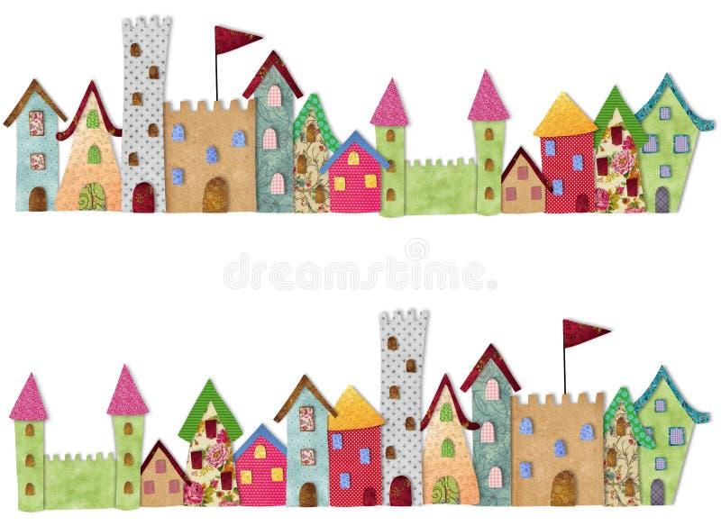 Fairytale City. Colorful graphic illustration. Quilt design vector illustration