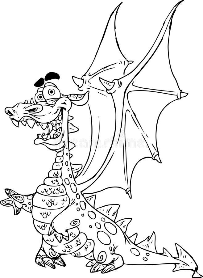 fairytale dragon black outline for coloring stock