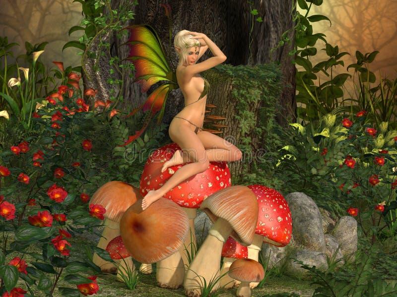 Fairytale elven beautiful woman on mushroom. Elven beautiful woman in fairytale forest sits on a mushroom 3D illustration render stock illustration