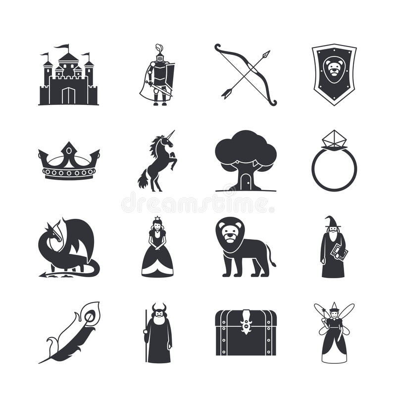 Fairytale and fantasy icons stock illustration