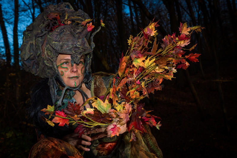 Fairytale. Female forest demon at autumn stock images